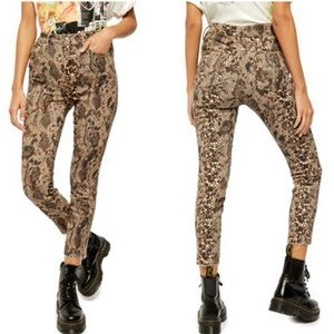 NWT Free People Raw High-Rise Snakeskin Jeggings